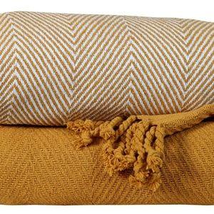 Bedding - Cotton All Season Throw Blanket Set of 2 - Yellow